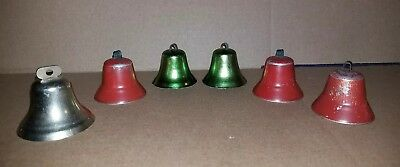 "Estate Vintage 6 Metal Christmas Bells Ornaments 2"" All Work Some Need Paint"