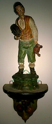 Antique Italy Folk Art Clay Pottery Man Figurine Statue Hang Support Wine Decor