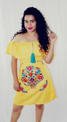 Handmade Womens Embroidered Mexican Dress Yellow Off the Shoulder Cinco de Mayo