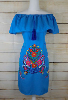 Handmade Womens Embroidered Mexican Dress Sky Blue Floral Off the Shoulder