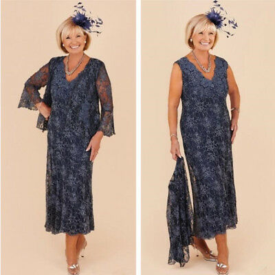 NAVY BLUE MOTHER of the Bride Dresses Tea Length Lace Evening ...