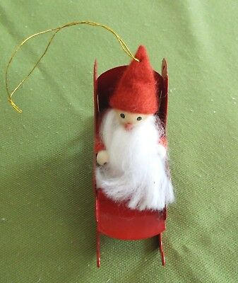 Vintage Red Metal Sled with Santa Claus Christmas Tree Ornament Very Good Cond.