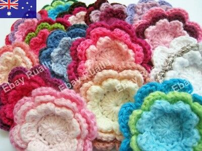15 x Handmade Crochet Flowers 3 Layered Applique Embellishments Craft Bulk Lot 1