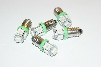 5x GREEN Triumph TR6, Spitfire  CLASSIC CAR LED INSTRUMENT BULBS E10MES GLB987
