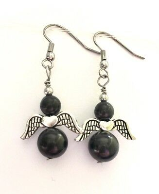 Black Angel Earrings 9mm & 6mm SHUNGITE Beads Protection EMR Heals 🎁free Wrap