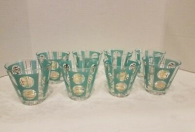 Mid Century Modern Turquoise Gold Cocktail Rock Lowball Glasses Set 8