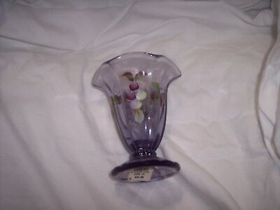 Pottery & Glass Just Fenton Qvc Fern Green Opalescent Tulip Vase Beautiful Art Glass