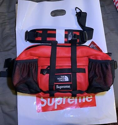 189fee3af SUPREME®/THE NORTH FACE® Leather Mountain Waist Bag Red FW18 Red
