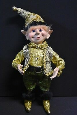 Christmas Elf, Gold, Green and Black. 40cm tall