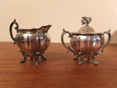 Antique/Vtg Footed Silverplate Cream and Sugar Set w/ Handle Gourd Finial
