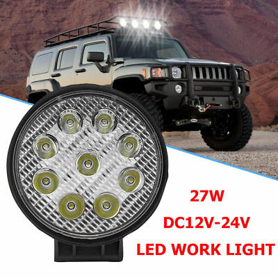 27W DC12V-24V CREE LED Work Light Round Flood Lamp Camping Boat Offroad Truck