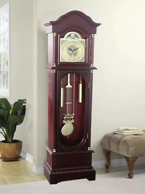 Traditional Grandfather 182cm Clock Cherry Finish Longcase Westminster Chime