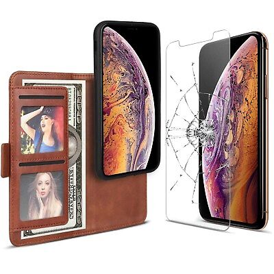 For iPhone 7 8 Plus X XS XR Genuine Leather Flip Wallet Case w/Screen Protector