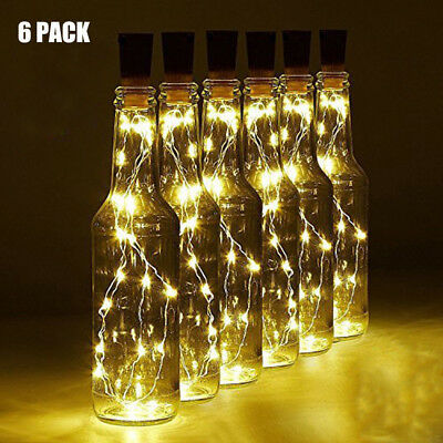 6 Pack 20 LED Wine Bottle Copper Wire Lights for Christmas Halloween Table Decor