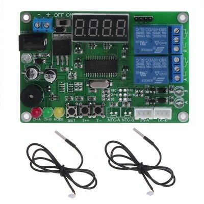 5-24V 2-CH Digital LED Display Temperature Intelligent Controller with 2 probe