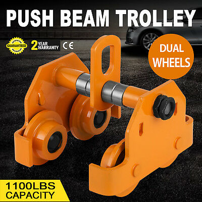1/2 Ton Push Beam Track Roller Trolley Dual Wheels Washers Included Adjustable