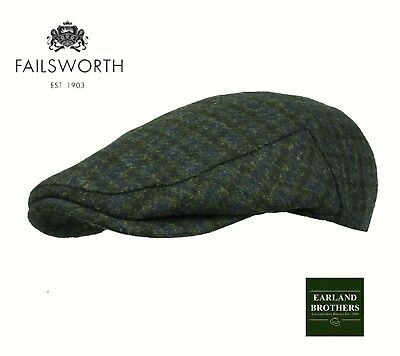 Failsworth English Tweed Flat Cap - Merino Wool Abraham Moon Blue Houndstooth
