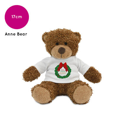 Personalised Name Christmas Wreath Anne Teddy Bear Stocking Fillers Boys Girls