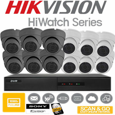 Hikvision Hiwatch CCTV HD 1080P 2.4MP Night Vision Outdoor Home Security System