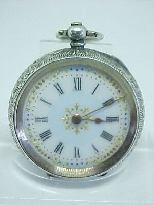 Pretty Stunning Antique Ornate Solid Silver Fob Pocket Watch