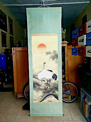 Magnificent Red-Crowned Crane Japan Antique Hand Painted Silk Scroll