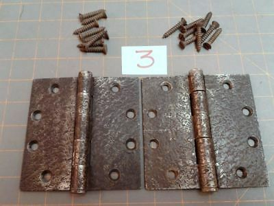 Pair Butt Hinges Acorn Warwick Style Faux Hammered Iron Finish w Screws No 3 VTG