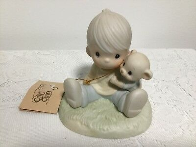 Precious Moments Figurine To My Favorite Paw 1985 Enesco Boy With Teddy Bear