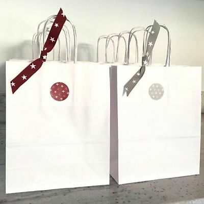 White Paper Bag Twisted Handles Ribbon Sticker Christmas Party 18 x 22 cm