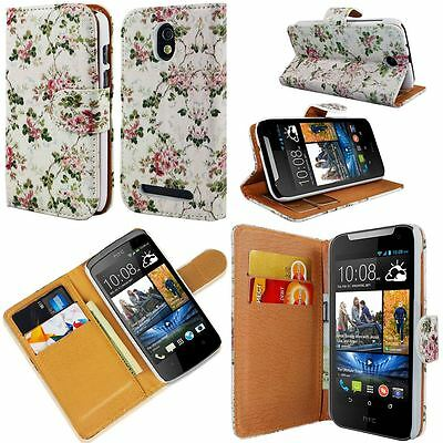 White Pink Flower Printed Pu Leather Wallet Case Cover For Various Phone Model