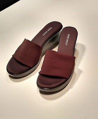 Nine West Wedge Mules Slides Brown, Size 7.5 Med, Beautiful! NEW!!
