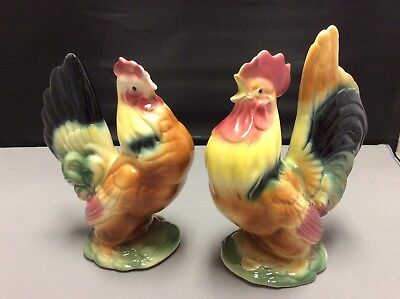 "Vintage Royal Copley Colorful Rooster and Hen Pair Chicken Figurines 8""-7"" Tall"