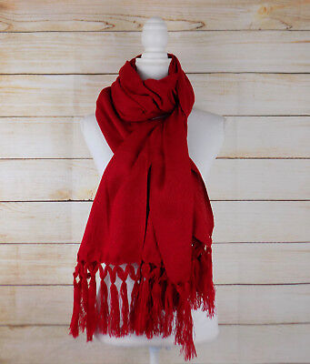 Handmade Womens Woven Red Rebozo Scarf Wrap Shawl Gift for Her