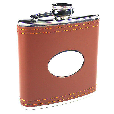 fl30 Special Offer 6oz Brown Leather Hip Flask Captive Lid and Free Engraving