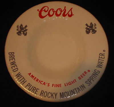 Vintage Advertising Coors Light Beer Rocky Mountain Spring Water Pottery Ashtray