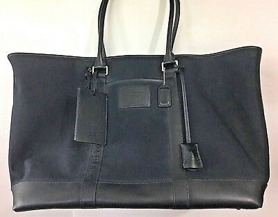 COACH Weekender Carry-On Travel Bag Luggage Black Canvas Leather 5968 XL  SL