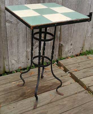 Antique Vintage Tile Top Twisted Curved Leg Wrought Iron Table
