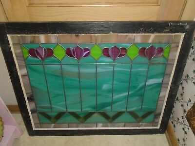 Antique Victorian Art Deco Stained Glass Window-Flower-LARGE-Architecture Vtg