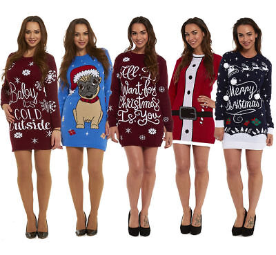 c44d99427111 Ladies Christmas Tunic Jumper Womens New 2018 Novelty Xmas Knitted Retro  Sweater