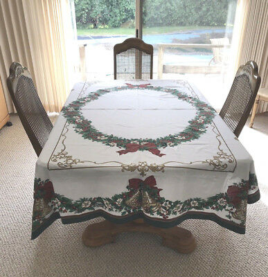 Vintage Large Christmas Tablecloth 58x81 Green, Red & Gold Detailing