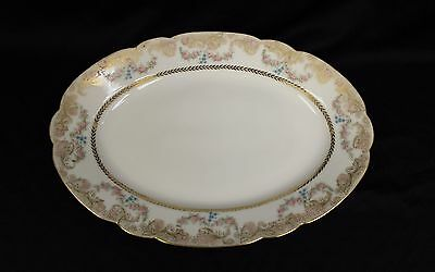 "Antique 11"" circa 1885Haviland oval platter Garlands of Roses A LOT OF GOLD"