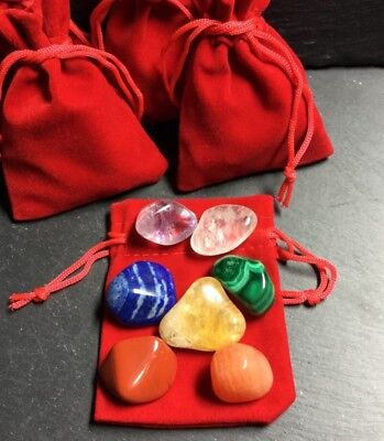 7 Pcs Chakra Balancing Set 20-30mm Crystals Grounding Tumble Stones Reiki  CST-7