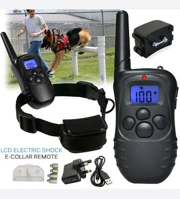 LCD Anti-Bark Rechargeable Electric Shock E-Collar Dog Training Remote Control a