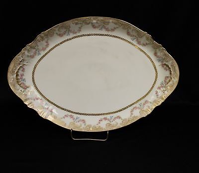 "Antique 14"" Haviland platter circa 1885 A lot of gold,Garlands of Roses"