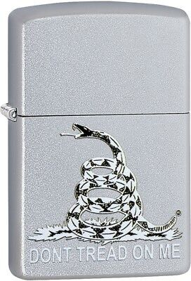 Zippo Dont Tread On Me Snake Satin Chrome Windproof Perfect Gift 29841 NEW L@@k!