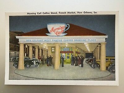 vintage postcard - MORNING CALL COFFEE STAND French Market New Orleans Louisiana