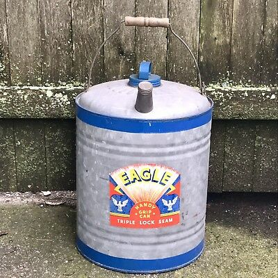 Vintage Gas Oil Can NOS Eagle Brand Label Galvanized Handy Grip 1940s 1950s