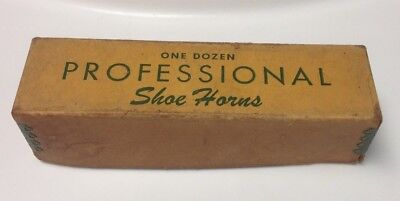 One Dozen PROFESSIONAL Shoe Horns, Old Advertising Box, from Old Store.
