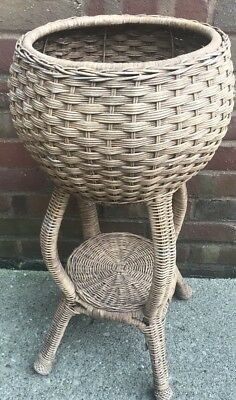 Vintage Wicker Rattan Plant Stand