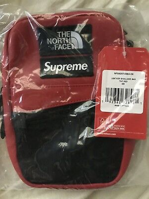 efe1e23f56b SUPREME THE NORTH Face Leather Shoulder Bag Red Brand New FW18