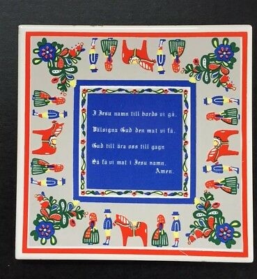 Swedish Horse and Folk Art Scene Ceramic Tile Trivet Wall 6x6 Swedish Prayer